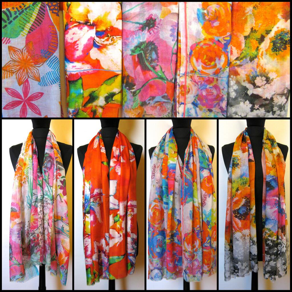 Uld / silke, bomulds tørklæder med blomsterprint. Skønt sommer tørklæde. samarkanddk