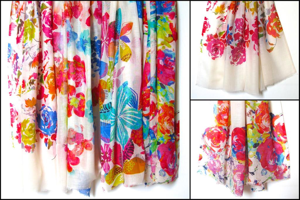 Uld / silke tørklæde med blomsterprint. Skønt sommer