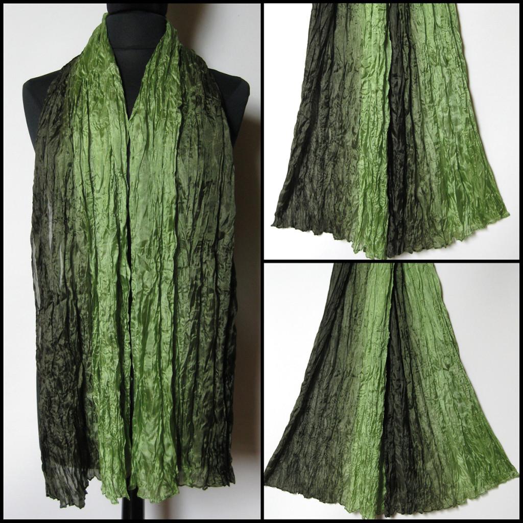 Silketørklæde i grønne nuancer. Samarkand har stort udvalg af silketørklæder i mange farver.