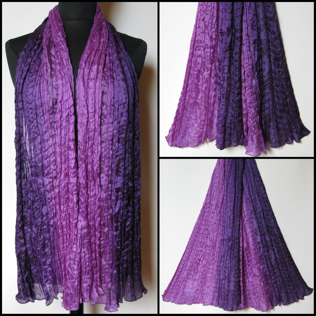 Silketørklæde i lilla nuancer. Samarkand har stort udvalg af silketørklæder i mange farver.