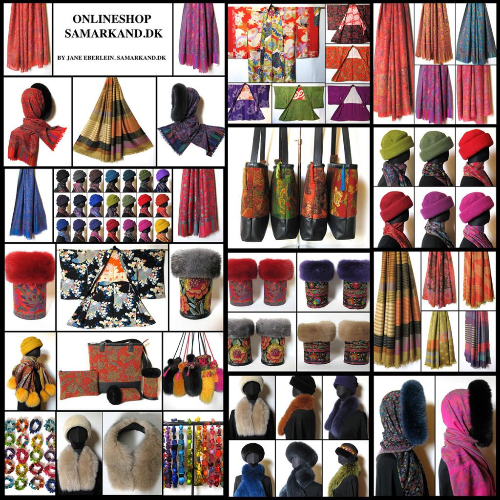 uldhuer, uldtørklæder, pelskraver, kimono jakker, sobral, pelstasker, samarkanddk, janeeberlein