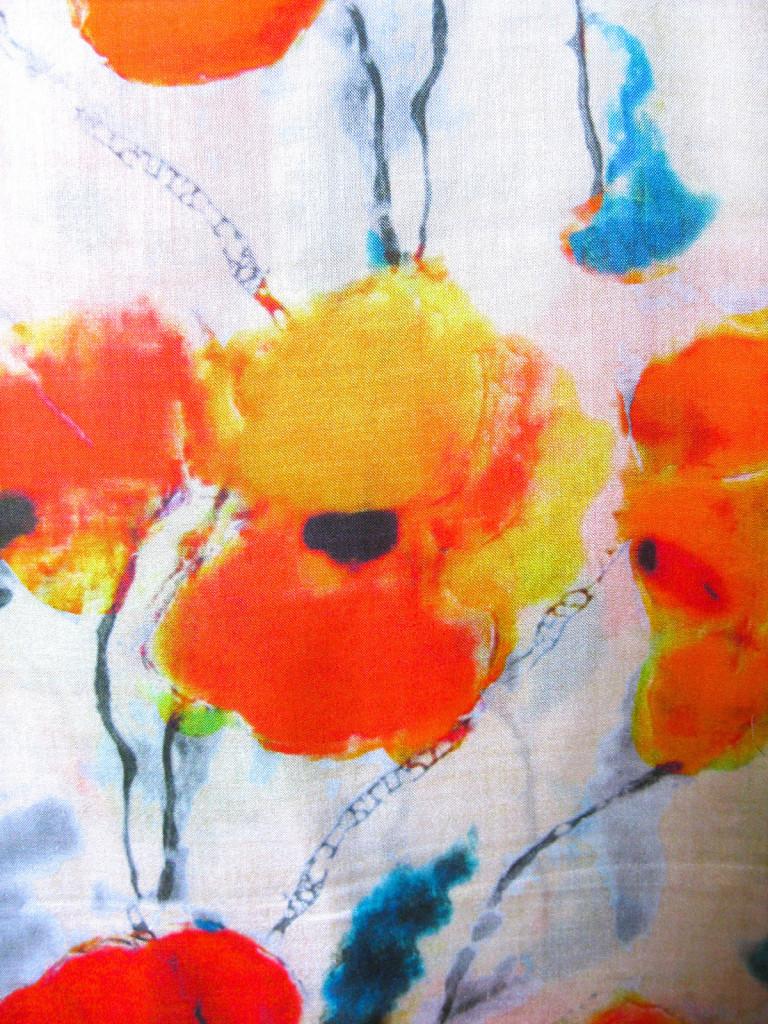silketørklæde med blomster, silketørklæde print, tørklæde silke farver