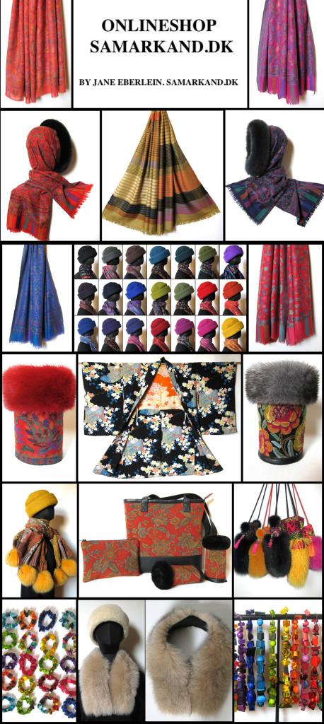 Besøg Samarkand´s Onlineshop, uldhuer, uldtørklæder, pelskraver, kimono jakker, sobral, pelstasker, samarkanddk, janeeberlein