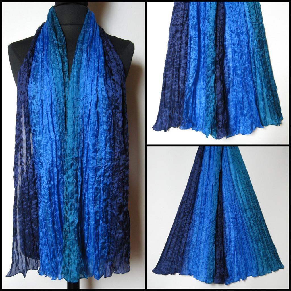 Silketørklæde i blå nuancer. Samarkand har stort udvalg af silketørklæder i mange farver.
