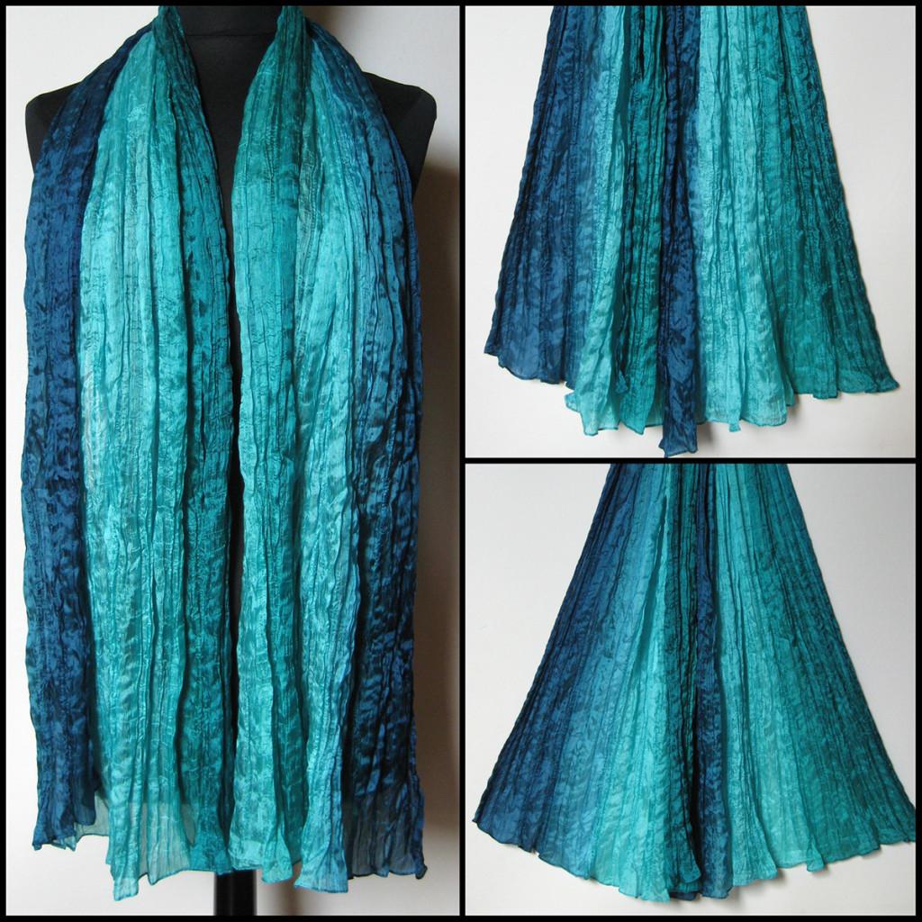 Silketørklæde i blå, turkise nuancer. Samarkand har stort udvalg af silketørklæder i mange farver.