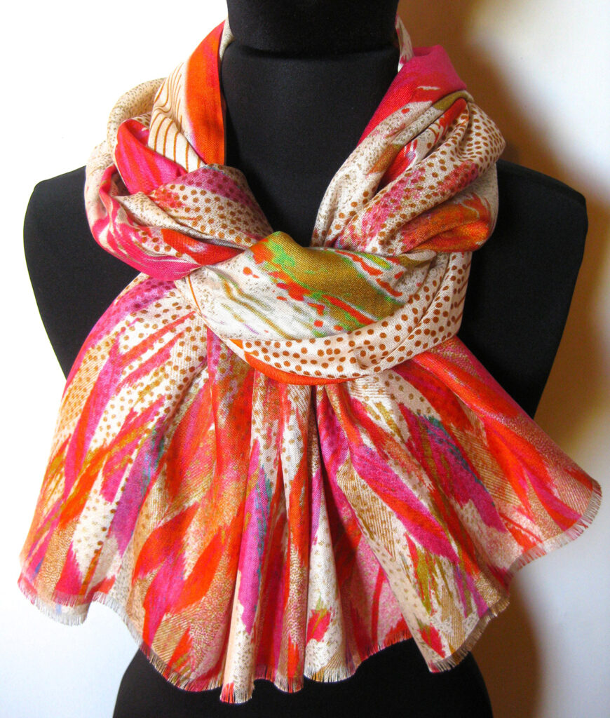 silketørklæde med abstrakt mønster, silketørklæde print, tørklæde, silke, farver