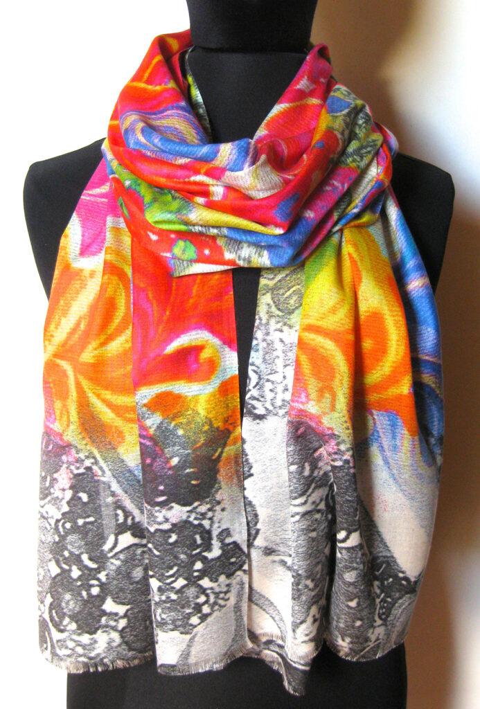 silketørklæde med blomster, silketørklæde print, tørklæde, silke, farver