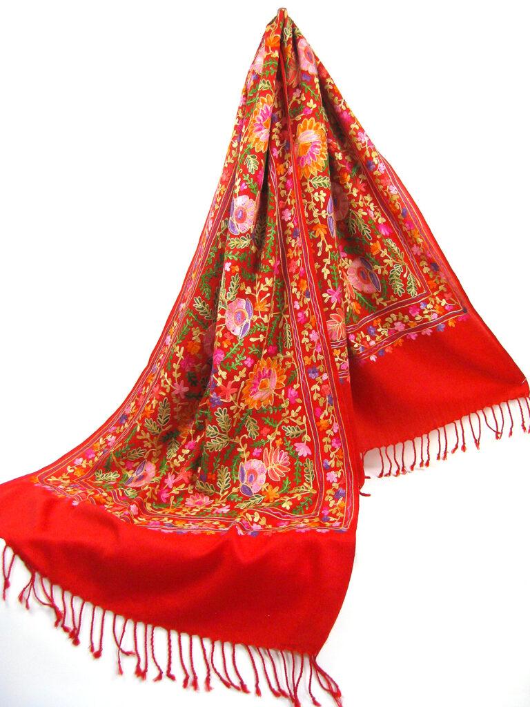 Kashmir pashmina uld sjal tørklæde med broderi