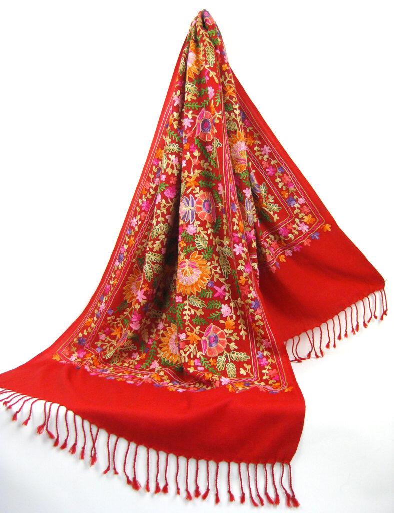 Kashmir pashmina uld sjal tørklæde med broderiKashmir pashmina uld sjal tørklæde med broderi